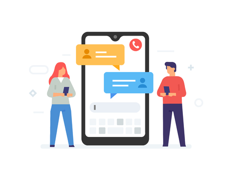 Chat messages notification on smartphone vector illustration, flat cartoon sms bubbles on mobile phone screen, man person chatting on cellphone with woman isolated. Private chat Çizim