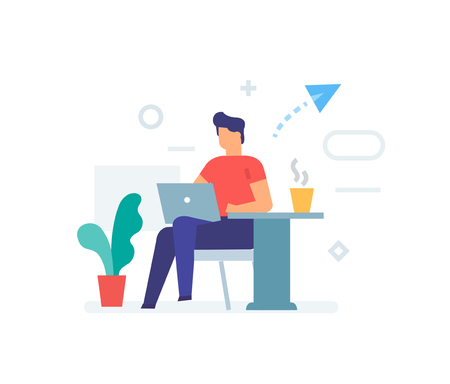 Guy is sitting with a laptop in a cafe icon, illustration. Smartphones tablets user interface social media.Flat illustration Icons infographics. Landing page site print poster. Eps vector.