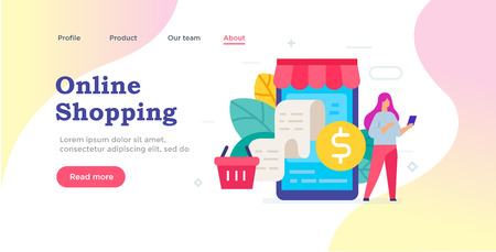 Web page design. Ordering goods via smartphone icon, illustration. Smartphones tablets user interface social media.Flat illustration Icons infographics. Landing page site print poster. Eps vector.
