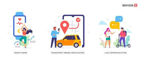 People use smartphones, leisure tourism, sport, fitness, social networks set of icons, illustration. Smartphones tablets user interface social media.Flat illustration Icons infographics. Landing page site print poster.