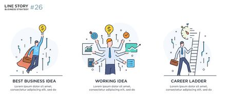 Set of illustrations concept with business concept. Workflow, growth, graphics. Ilustração