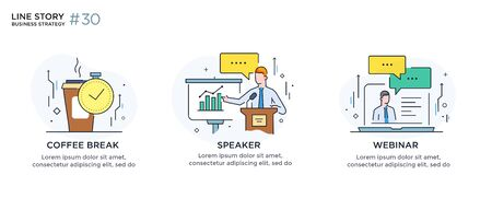 Set of illustrations concept with business concept. Workflow, growth, graphics. break, rest, presentation, online, school. linear illustration Icons infographics. Landing page site print poster. Line story
