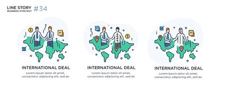 Set of illustrations concept with business concept. Workflow, growth, graphics. Business development, international cooperation. linear illustration Icons infographics. Landing page site print poster. Line story