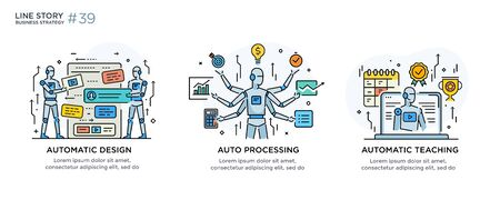 Set of illustrations concept with businessman. technology, partnership, connection, business robot, cyber. linear illustration Icons infographics. Landing page site print poster. Line story