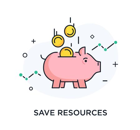 Money falls into the piggy bank. Way to success, exchange rate. Business concept. line icon illustration