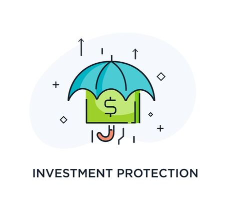 Umbrella harbors accumulated money, protects the shield. growth charts. Vector illustration Eps10 file. Success, growth rates. Line icon illustration