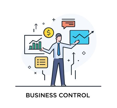Businessman controls the interface of monitors. Workflow, growth, graphics. Business development, milestones, start-up. linear illustration Icons infographics. Landing page site print poster. Eps vector. Line story