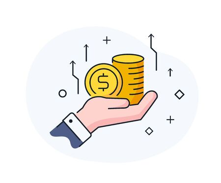 Businessman hand holds coins. growth charts Success, growth rates. Line icon illustration