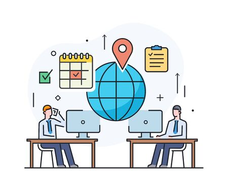 Businessmen negotiate online. international deal. Virtual communication smartphone. Cooperation interaction. Success, Cooperation. line icon illustration