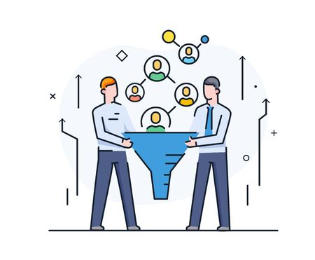 Businessmen looking for suitable customers, filter partners. Cooperation interaction. Success, Cooperation. line icon illustration