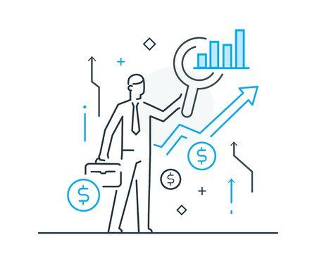 Businessman studies the market for making money. Line icon illustration. Success, rates