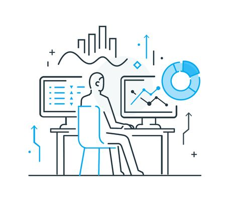 Businessman at workplace interface of monitor. Workflow, growth, graphics. Business development, milestones, start-up. linear illustration Icons infographics. Landing page site print poster. Eps vector. Line story Ilustração