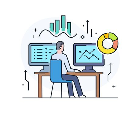 Businessman at workplace interface of monitor. Workflow, growth, graphics. Business development, milestones, start-up. linear illustration Icons infographics. Landing page site print poster. Line story Ilustração