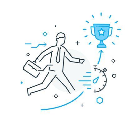 El empresario se esfuerza por conseguir una taza. Éxito, logro de metas, orgullo. Éxito. Ilustración del icono de línea Ilustración de vector