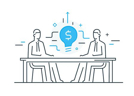 Businessmen connect lamp. Joint efforts, success, union, idea. Success Cooperation. line icon illustration