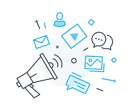Social media post. Virtual communication smartphone. Cooperation interaction. Success, Cooperation. line icon illustration