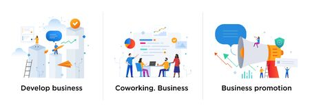 Set of illustrations concept with business concept. Workflow, growth, graphics. Business development, milestones. lillustration infographics. Landing page site print poster. Eps vector