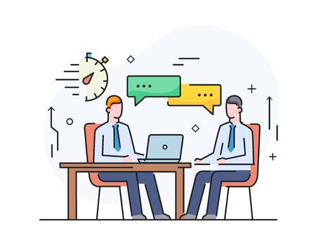 partners discuss business. international deal. Virtual communication smartphone. Cooperation interaction. Success, Cooperation. line icon illustration
