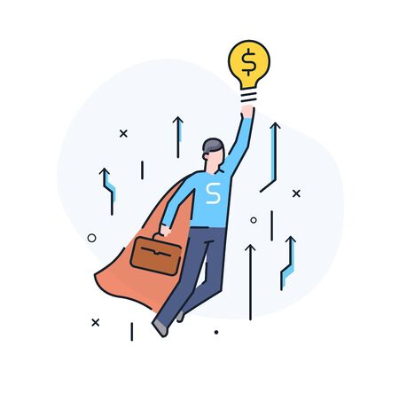 The businessman climbs the career ladder. achievements. execution schedule. Success, growth rates. Line icon illustration Çizim