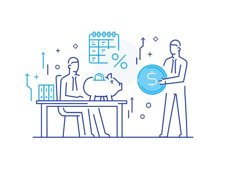 partners discuss. work on a startup, investing, profit. Success, Cooperation. Vector illustration Eps 10 file. Success, Cooperation line icon illustration