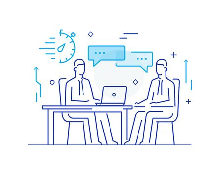 partners discuss business. international deal. Virtual communication smartphone. Cooperation interaction. Vector illustration Eps 10 file. Success, Cooperation. line icon illustration