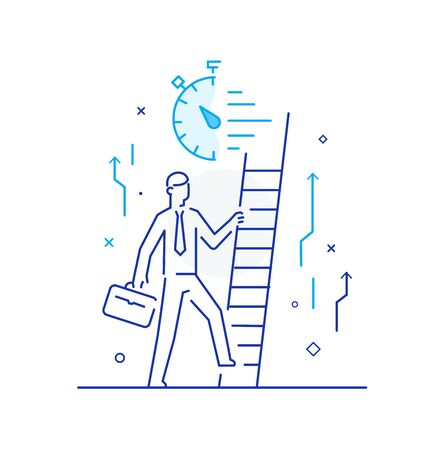 Businessman climbing graph, career success Stock Illustratie