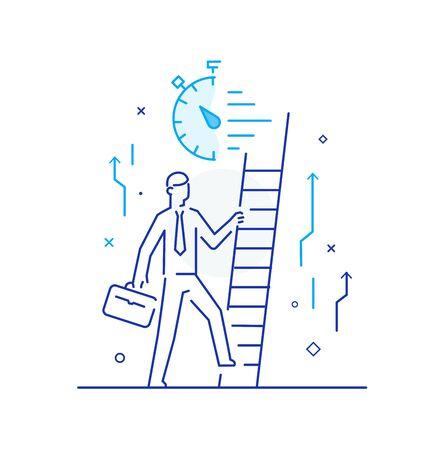 Businessman climbing graph, career success Illustration