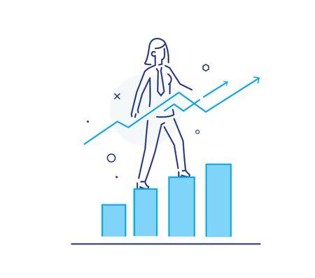 Gráfico de escalada de mujer de negocios, éxito profesional. Archivo de ilustración vectorial Eps10. Éxito, tasas de crecimiento