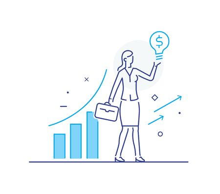 business woman climbs the career ladder. achievements. performance schedule. Vector illustration Eps10 file. Success, growth rates. Line icon illustration