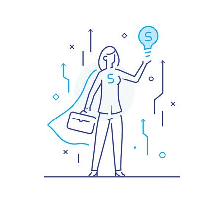 superhero businesswoman holding a dollar idea light bulb. achievements. execution schedule. Success, growth rates. Line icon illustration