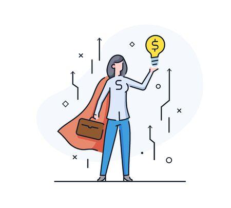 superhero businesswoman holding a dollar idea light bulb. achievements. execution schedule. Success, growth rates. Line icon illustration