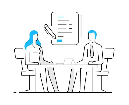 Woman signing a contract. work on a startup, investing, profit. Success, Cooperation. line icon illustration