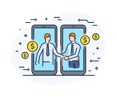 Businessmen shake hands with each other. Virtual communication smartphone. Cooperation interaction. Success, Cooperation. line icon illustration