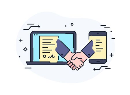 Businessmen shaking hands. contract online signature. Cooperation interaction. illustration Eps 10 file. Success Cooperation. Line icon illustration Ilustração