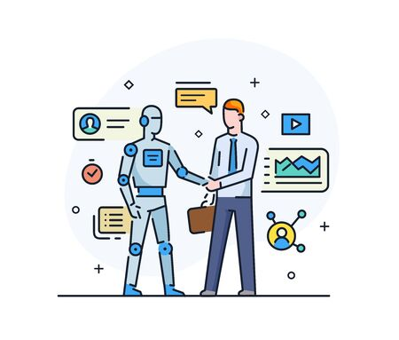 Businessmen shake hands with robot. Virtual communication smartphone. Cooperation interaction. Success, Cooperation. line icon illustration