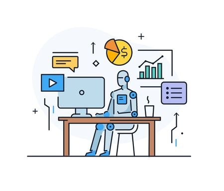 Robot at workplace interface of monitor. Workflow, growth, graphics. Business development, milestones, start-up. linear illustration Icons infographics. Landing page site print poster. Line story Ilustração