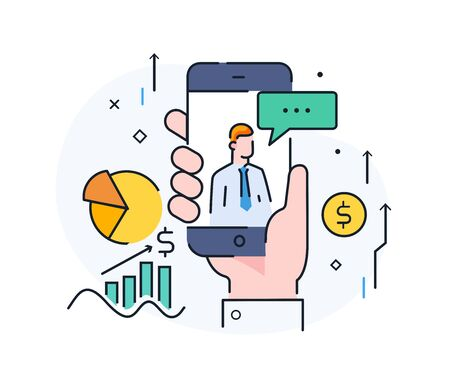 expert gives advice online. Virtual communication smartphone. Cooperation interaction. Success, Cooperation. line icon illustration Ilustração