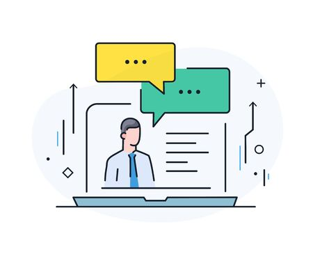 communication with a business partner online. Virtual communication smartphone. Cooperation interaction. Success, Cooperation. line icon illustration