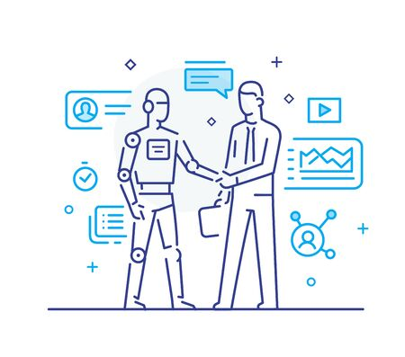 Businessmen shake hands with robot. Virtual communication smartphone. Cooperation interaction. Vector illustration Eps 10 file. Success, Cooperation. line icon illustration