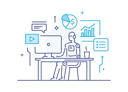 Robot at workplace interface of monitor. Workflow, growth, graphics. Business development, milestones, start-up. linear illustration Icons infographics. Landing page site print poster. Line story