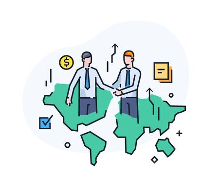 Businessmen shake hands with each other. Virtual communication smartphone. Cooperation interaction. Vector illustration . Success, Cooperation. line icon illustration