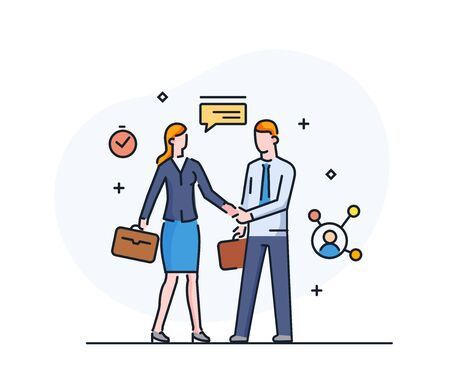 Businessmen shake hands with businesswoman. Virtual communication smartphone. Cooperation interaction. Vector illustration. Success, Cooperation. line icon illustration