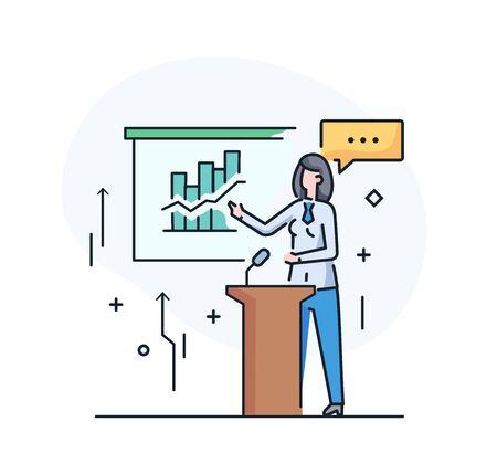 Businesswoman coach at the blackboard. Training Business School. Cartoon character - cute businessman. Stock vector illustration in flat design. Line icon illustration Ilustracja