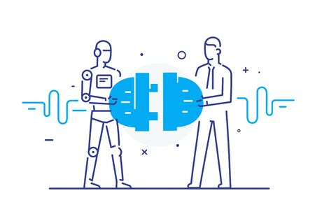 Businessmen and robot connect connectors. Cooperation interaction. Success, Cooperation. line icon illustration