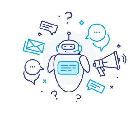 Social media post robot. Virtual communication smartphone. Cooperation interaction. Success, Cooperation. line icon illustration