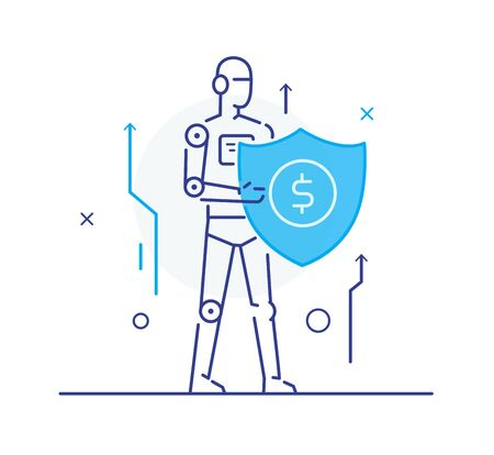 Robot protects the shield. growth charts Success, growth rates. Line icon illustration