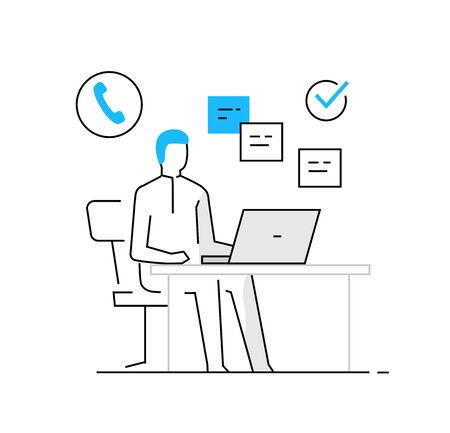 woman in office at laptop. business, work, orders. line icon illustration