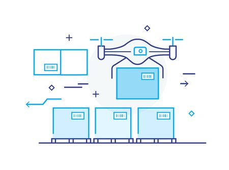 quadrocopter transports goods, package, boxes. Warehouse storage logistics. Line icon illustration Ilustração
