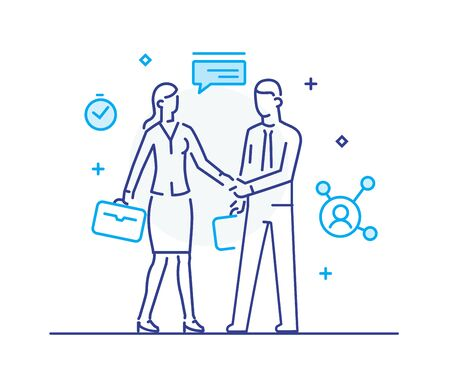 Businessmen shake hands with businesswoman. Virtual communication smartphone. Cooperation interaction. Success, Cooperation. line icon illustration