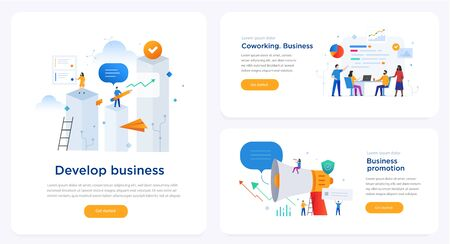 Set of illustrations concept with business concept. Workflow, growth, graphics. Business development, milestones. lillustration infographics. Landing page site print poster